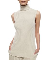 Lafayette 148 New York | Natural Sleeveless Ribbed Cashmere Sweater | Lyst