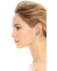 Ben-Amun Metallic Asymmetrical Crystal Earrings - Silver/Clear