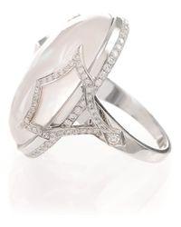Ivanka Trump - White Pave Diamond Pagoda Shank Cabochon Cocktail Ring - Lyst