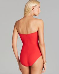 Gottex Red Le Ribot Bandeau One Piece Swimsuit