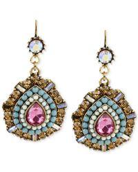 Betsey Johnson   Metallic Gold-tone Multi-color Crystal Teardrop Earrings   Lyst