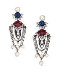 DANNIJO | Metallic Tabitha Crystal & Faux Pearl Chain Drop Earrings | Lyst