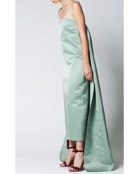 Katie Ermilio - Green Watteau Pleat Column Gown - Lyst