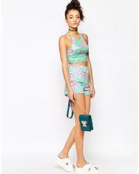 Motel - Green Ibu High Waisted Short In Daisy Wash Mint - Lyst