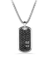 David Yurman Tag Necklace Pavé Black Diamonds