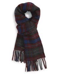 Ted Baker | Red Check Print Virgin Wool Scarf for Men | Lyst