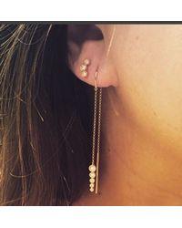 Anne Sisteron | Metallic 14kt Rose Gold Diamond Bar Threader Earrings | Lyst