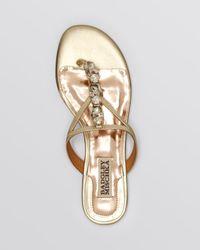 Badgley Mischka Metallic Open Toe Flat Sandals Kittie