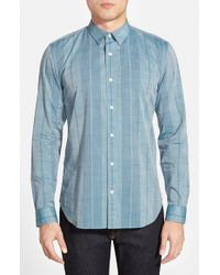 7 For All Mankind | Blue Trim Fit Stripe Sport Shirt for Men | Lyst