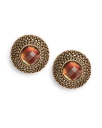 Stephen Dweck Brown Quilted Mother-of-pearl Doublet Button Earrings