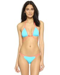 L'Agent by Agent Provocateur | Blue Cari Triangle Bikini Top | Lyst