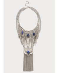 Bebe | Blue Lapis Stone Chain Necklace | Lyst