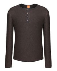 BOSS Orange | Brown Cotton Knit Shirt 'kale' for Men | Lyst