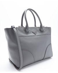 Prada - Gray Marble Calfskin Convertible Tote - Lyst
