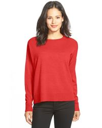 Eileen Fisher | Red Bateau Neck Merino Top | Lyst
