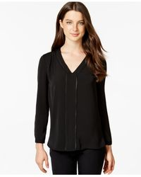 Calvin Klein Jeans | Black V-neck Loose-fit Blouse | Lyst