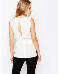 ASOS | White Sleeveless Plunge Neck Top | Lyst