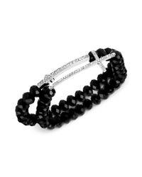 Betsey Johnson   Black Silvertone Crystal Cross Faceted Bead Stretch Bracelet Set   Lyst
