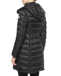 Moncler | Black Hermine Hooded Long Puffer Coat | Lyst
