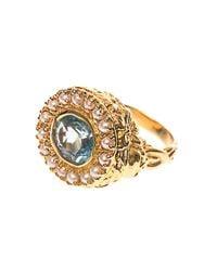 Jade Jagger | Metallic Aquamarine, Pearl & Gold-Plated Ring | Lyst