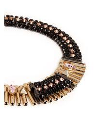 Iosselliani | Black Pyramid Stud Crystal Collar Necklace | Lyst