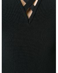 Balmain Black Criss Cross Fitted Dress