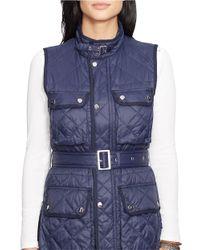 Lauren by Ralph Lauren Blue Belted Quilted Nylon Vest