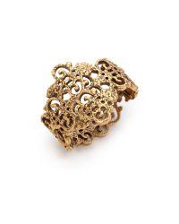 Oscar de la Renta Metallic Gold Lace Bracelet Russian Gold