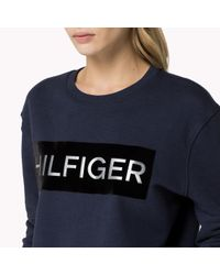 Tommy Hilfiger | Blue French Terry Signature Sweatshirt | Lyst