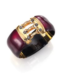 Alexis Bittar | Purple Pop Surrealist Lucite, Mother-of-pearl & Crystal Hook-and-eye Bangle Bracelet | Lyst