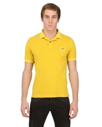 Stone Island Yellow Slim Fit Washed Cotton Piqué Polo for men