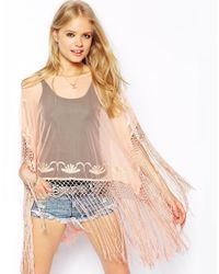 ASOS - Natural Kimono Top With Embroidery And Fringing - Lyst