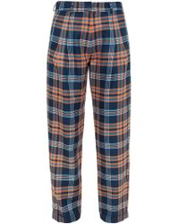 House of Holland - Blue Baggy Tartan Trousers - Lyst