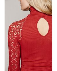 Free People | Red Womens Rib And Lace Turtleneck | Lyst