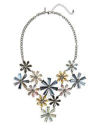 TOPSHOP - Metallic Bead Flower Statement Necklace - Lyst
