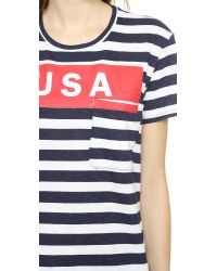 Textile Elizabeth and James Usa Wide Stripe Bowery Tee Whitebluered