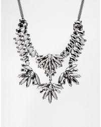 Oasis Metallic Navette Stone Collar Necklace