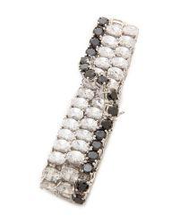 Kenneth Jay Lane - Crystal Crossover Bracelet - Clear/Black - Lyst