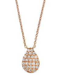Diane Kordas - Pink Rose Gold White Diamond Teardrop Necklace - Lyst
