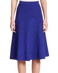 ESCADA - Blue Embossed Flower Knit Skirt - Lyst
