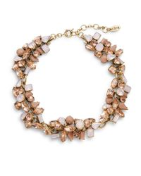 Cara | Pink Clustered Gem Collar Necklace | Lyst