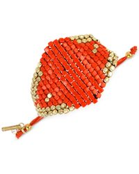 Kenneth Cole | Gold-tone Orange Bead Adjustable Friendship Bracelet | Lyst
