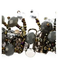 Night Market | Gray Beaded Floral Necklace | Lyst
