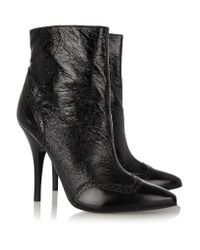 Tory Burch Black Fable Textured Patent-leather Boots