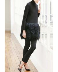 Martin Grant | Black Coat With Fur Trim | Lyst