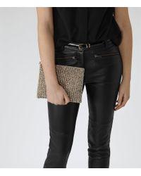 Reiss - Metallic Cindy Beaded Clutch Bag - Lyst