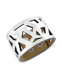 Vince Camuto | Metallic Silvertone and Faux Leather Geometric Cutout Snap Bracelet | Lyst