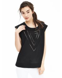 Banana Republic | Black Embroidered Muscle Tee | Lyst