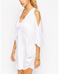 ASOS | White V Front Cold Shoulder Beach Cover Up | Lyst