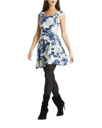 BCBGeneration White Floral Scuba Fit-and-flare Dress